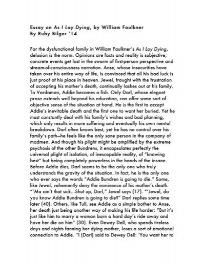 Bilgers Entire Essay On William Faulkners As I Lay Dying  Where Can I Buy A Literature Review also English Essays For Kids  Essay On Photosynthesis
