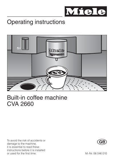 Operating Instructions Built In Coffee Machine Cva 2660