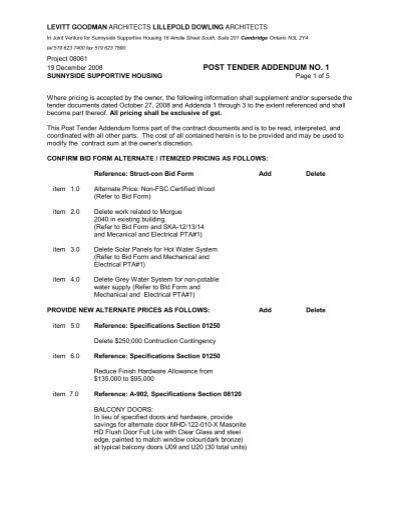 Post tender addendum no 1 struct con construction ltd maxwellsz
