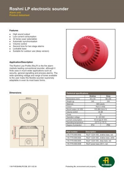 FULLEON ROSHNI Menvier MWS424//DB Fire Alarm Sounder Deep Base Red ROLP//SV//R//D//3