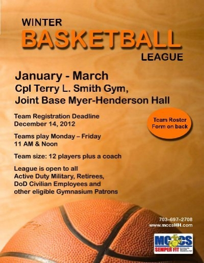 intramural winter basketball league  flyer with team