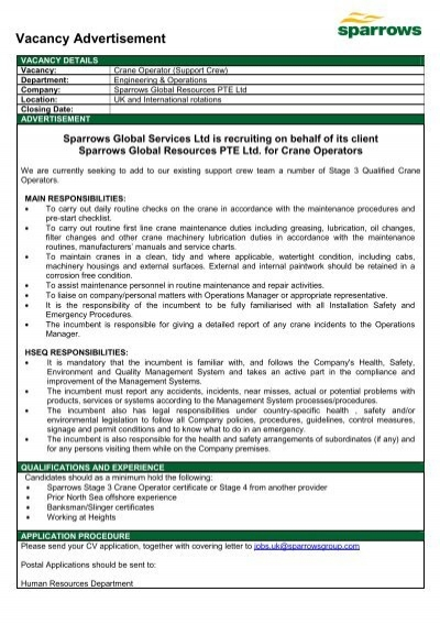 Vacancy Advertisement - Sparrows