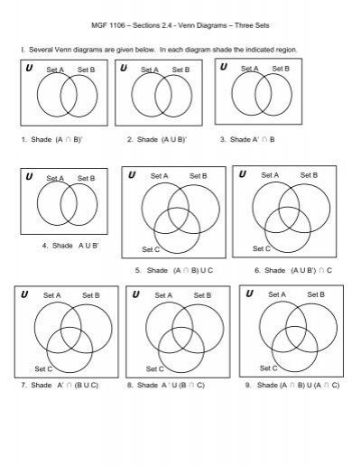 2 4 Venn Diagrams With Three Sets