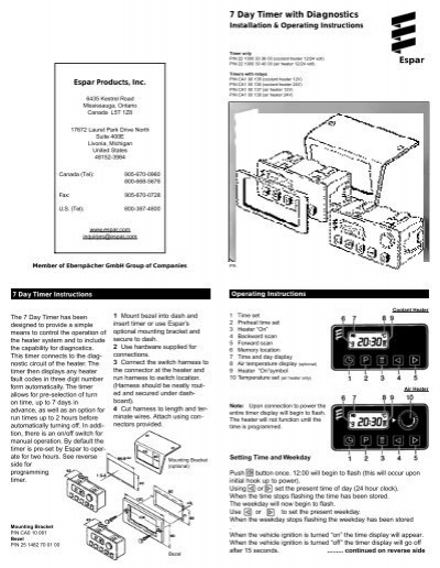 espar heater operating instructions