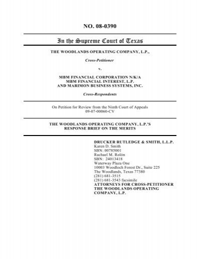 Respondent S Brief Filed Supreme Court Of Texas