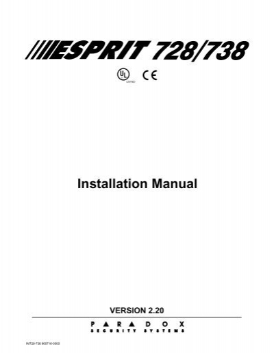 esprit 728 738 rh yumpu com paradox 738 ex user manual paradox 738 ultra user manual