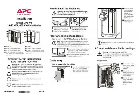apc 10 kva ups installation