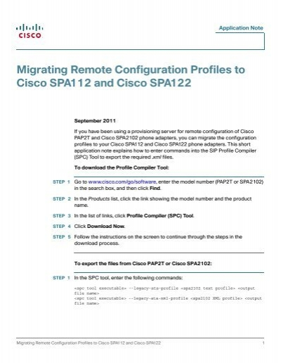 Migrating Remote Configuration Profiles to Cisco     - SWS a s