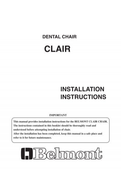 Dental Chair Installation Instructions Takara Belmont De
