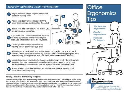 Office ergonomics tips 2005 risk management and safety - Office opslag tip ...