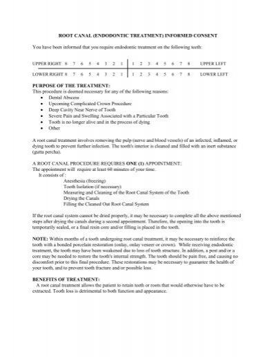 Root Canal Treatment - Consent Form
