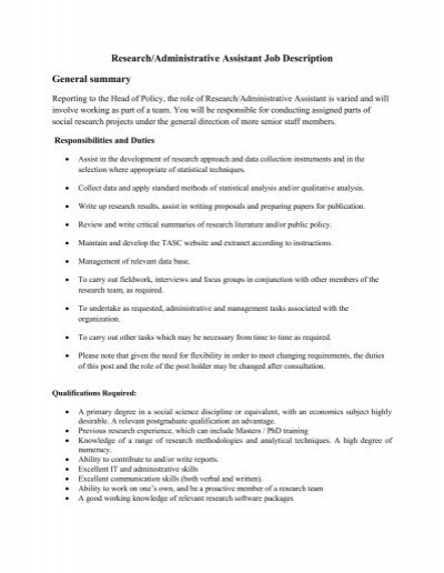 administrative assistant responsibilities