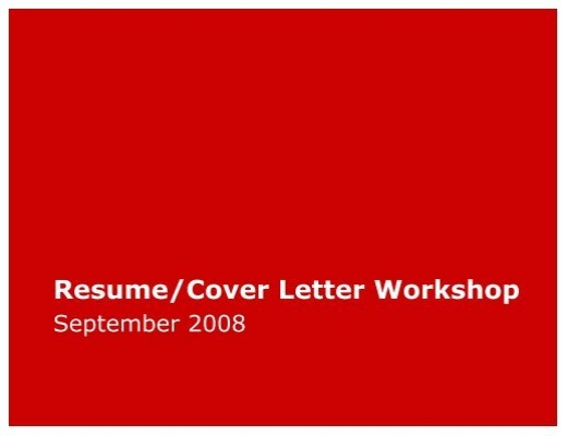 Resume/Cover Letter Workshop