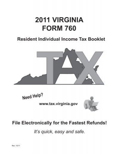 2011 VIRGINIA FORM 760 - Virginia Department of Taxation ...