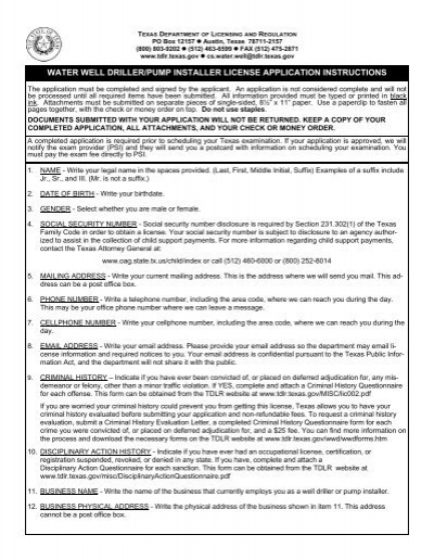 form #015 wwd - texas department of licensing and regulation