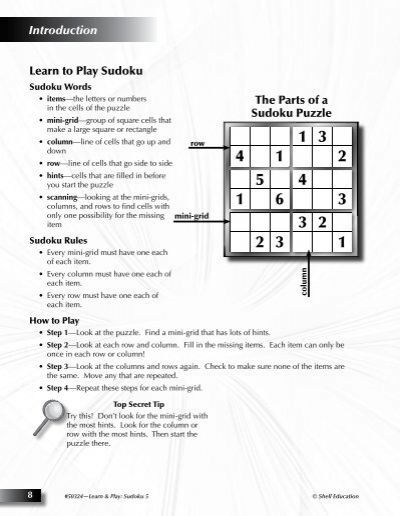 introduction learn to play sudoku the parts of a sudoku puzzle