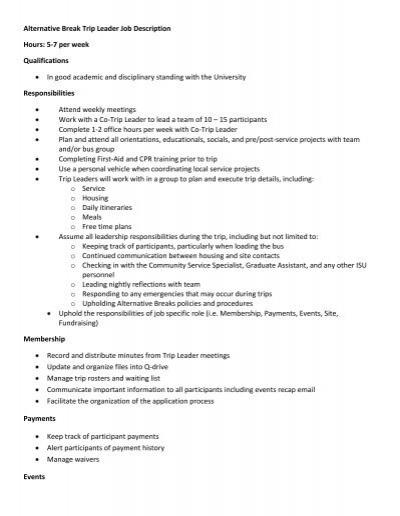 Alternative Break Trip Leader Job Description Dean of Students – Team Leader Job Description