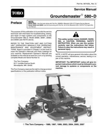 groundsmaster 580 d service manual toro rh yumpu com Toro Zero Turn Mowers Toro 580D Salvage