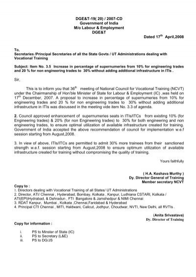 DGE&T-19( 20) - Directorate General of Employment & Training