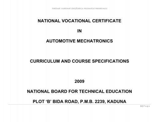 NVC AUTOMOTIVE MECHATRONICS - NBTE