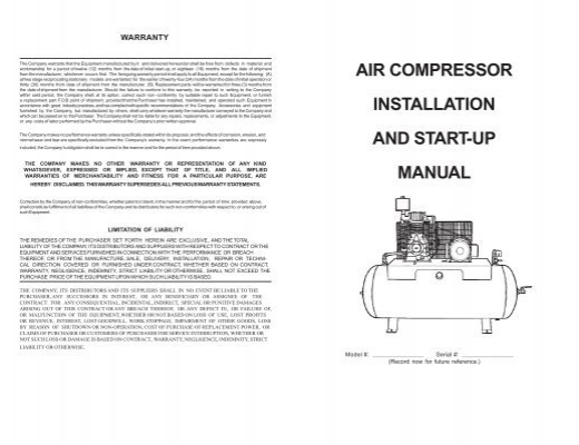 Air Compressor Installation And Start-up Manual