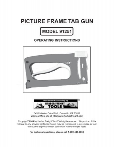 PICTURE FRAME TAB GUN - Harbor Freight Tools