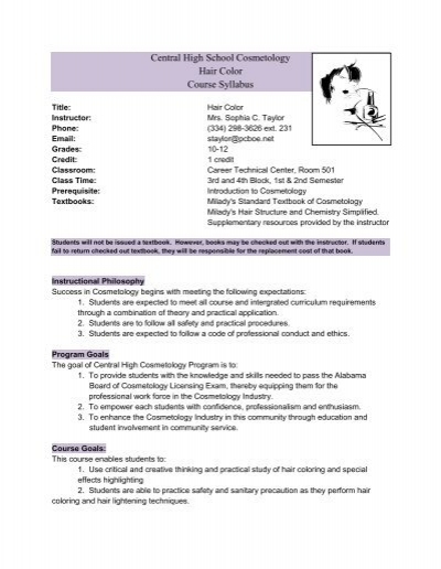 Central High School Cosmetology Hair Color Course Syllabus