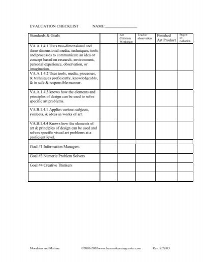 Art Criticism Worksheet Art Production Criteria And