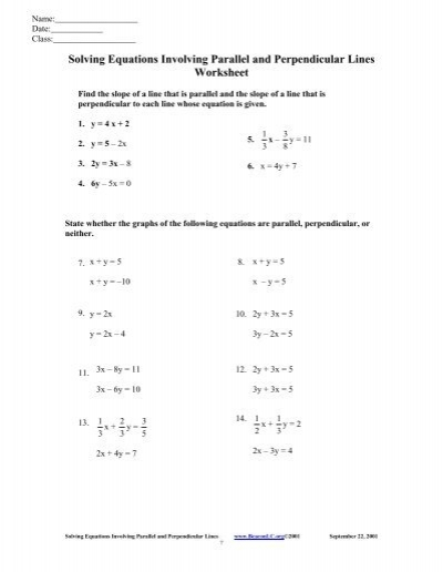 Linear equations parallel and perpendicular lines worksheet