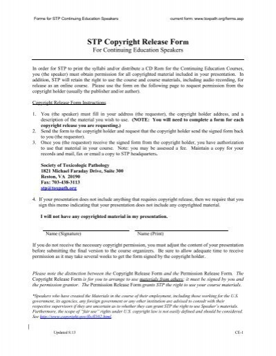 Continuing Education Copyright Release Form For Speakers