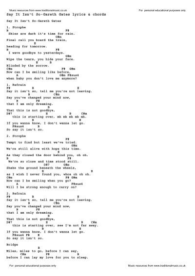 Say It Isn\'t So-Gareth Gates lyrics & chords - Traditional Music Library