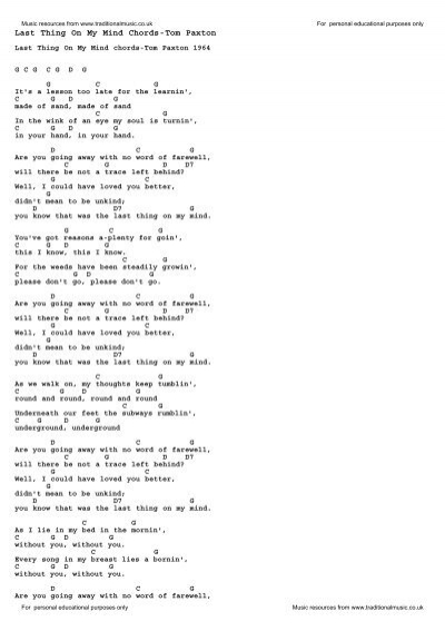 Last Thing On My Mind Chords-Tom Paxton - Traditional Music Library