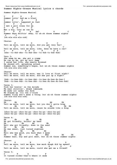 Summer Nights-Grease Musical lyrics & chords - Traditional Music ...