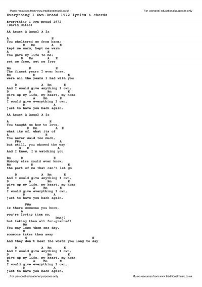 Everything I Own-Bread 1972 lyrics & chords - Traditional Music ...