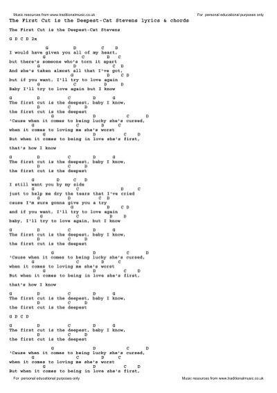 The First Cut Is The Deepest Cat Stevens Lyrics Chords