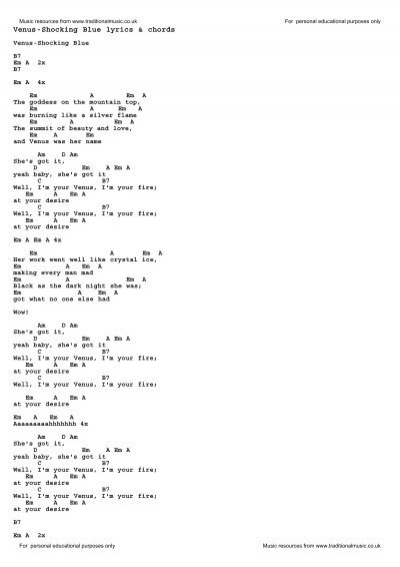 Venus-Shocking Blue lyrics & chords - Traditional Music Library
