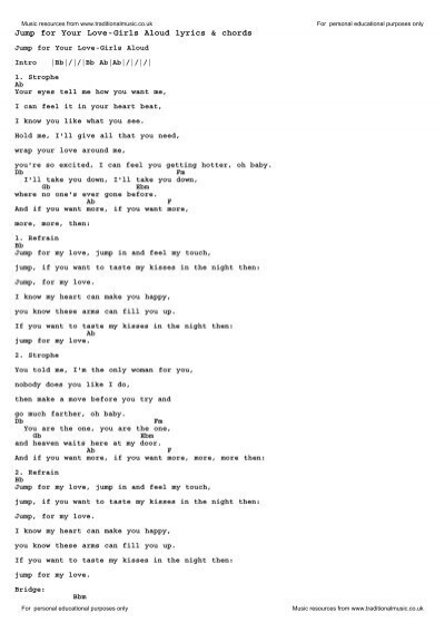 Jump For Your Love Girls Aloud Lyrics Chords Traditional Music