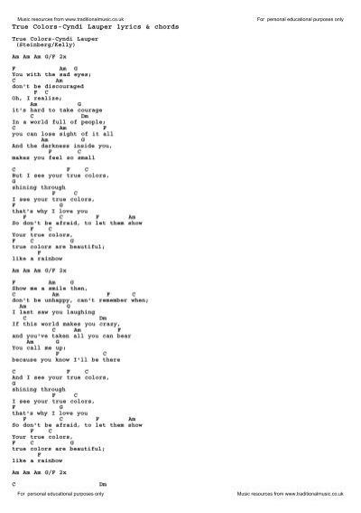 True Colors Cyndi Lauper Lyrics Chords Traditional Music Library