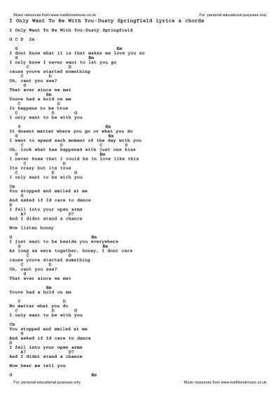 I Only Want To Be With You Dusty Springfield Lyrics Chords