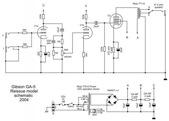 gibson ga-5 reissue model schematic 2004