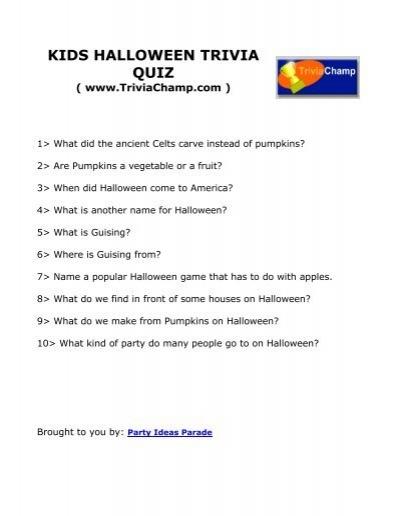 kids halloween trivia quiz trivia champ
