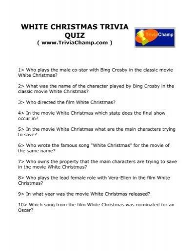 white christmas trivia quiz trivia champ - Who Wrote The Song White Christmas