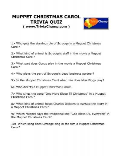 muppet christmas carol trivia quiz trivia champ - Muppet Christmas Carol Songs