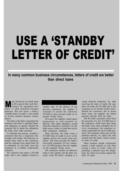 standby letter of credit use a quot standby letter of credit quot awci 24967 | 27242019