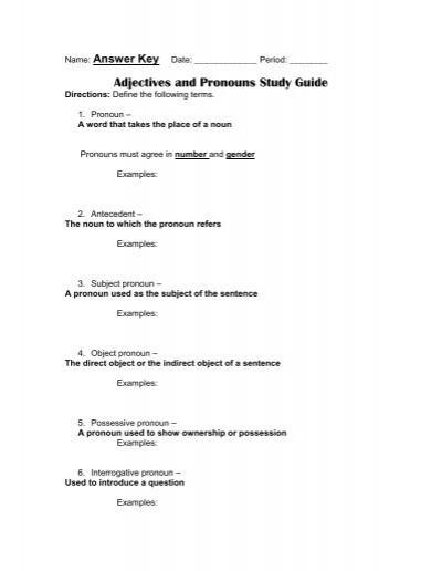 Pronoun case study guide