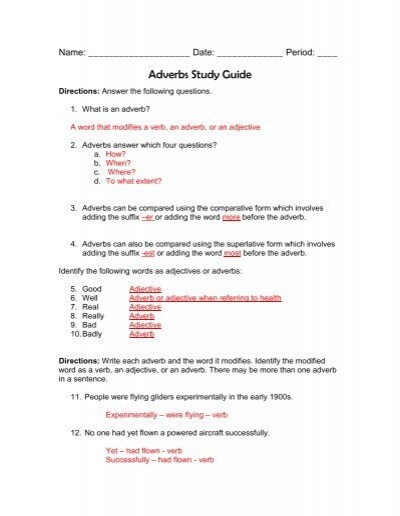 Adverb study guide answer key fandeluxe Images