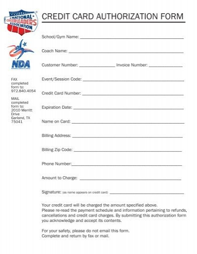 Credit Card Authorization Form  National Cheerleaders Association