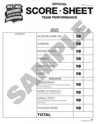 2014 Sample Score Sheets National Cheerleaders Association – Cheerleading Tryout Score Sheet
