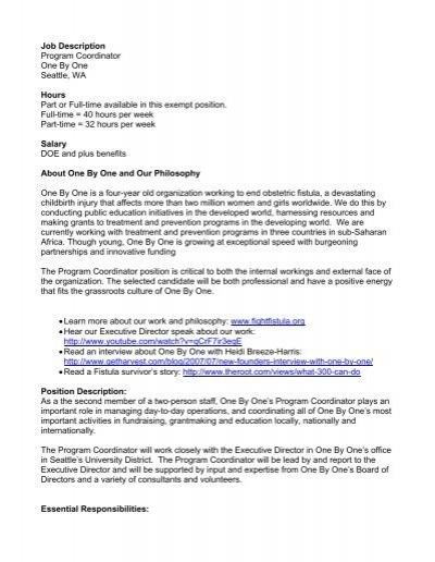 program coordinator job description