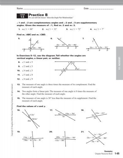 1 5 Angle Pair Relationships Practice Worksheet Answers - Worksheets